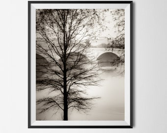 "Washington DC, Art, Black and White Photography, DC Landscape, DC Wall Art, Bridge Wall Art, Potomac River, Arlington ""Capital Winter"""