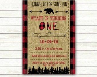 Lumberjack First Birthday Invitation Printable | Buffalo Plaid | Woodland Wood grain | Little Bear | Flannel Camping Digital File