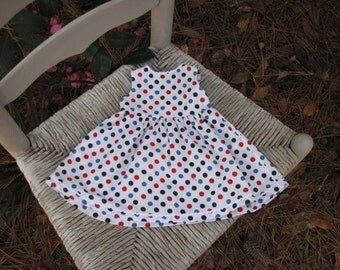 Patriotic Dot Summer Dress for 18 inch doll with white rick rack