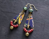 Tribal Wanderlust Arrow Earrings with Cobalt Blue Vintage Tin and Antique Brass Bell Charms, Wanderlust Jewelry, Arrow Jewelry