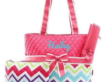 Monogrammed Diaper Bag Multi Chevron Hot Pink Quilted Baby Tote Embroidered Personalized