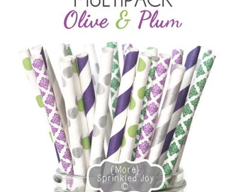 OLIVE & PLUM Green, Plum, Pewter, Eggplant, Wedding Colors, Fall, Silver, Multipack, Chevron, Dots, Damask, Vintage, 25 Straws, 5 Designs