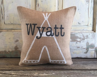 Burlap/Canvas Pillow - Boho Baby Boy Pillow | Personalized Name pillow | Teepee pillow | Nursery Pillow | Baby Shower gift