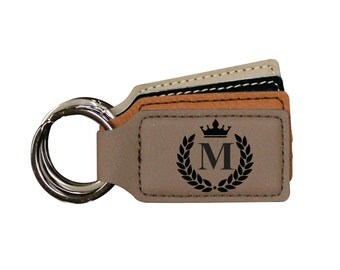 Leather Keychain Personalized, Initial Keychain, Personalized Keychain for Him, Custom Keychain, Leather Keyring,  SQUARE