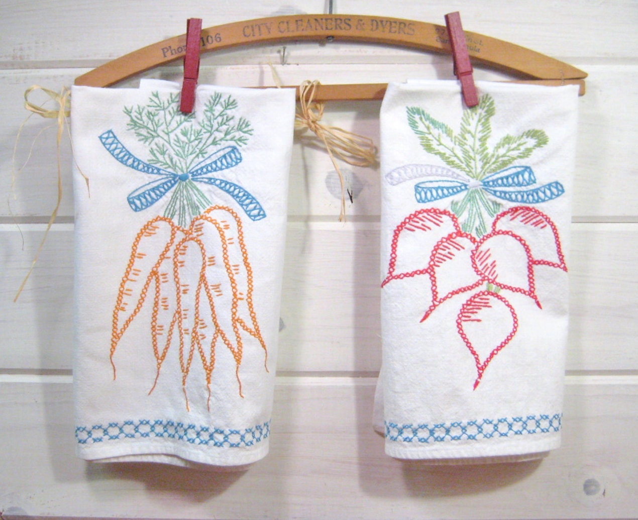 Vintage Kitchen Towels Embroidered Dish Towels Heavy Cotton