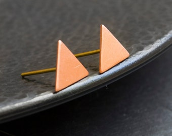 Copper Triangle Stud Earrings