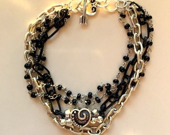 Black and Silver Chain and Link Multistrand Heart Bracelet