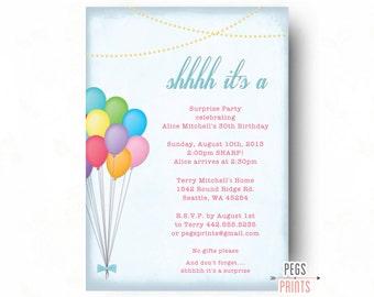 Adult Surprise Birthday Invitation - Birthday Balloons Surprise Party Invitation (Printable) Surprise Birthday Party Invitations for Women