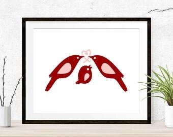 Love Birds Nursery Print, Love Birds Print, Family of Birds, Animal Printable, Printable Art, Nursery Art Print, Nursery Printable, Love Art