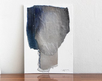 Original Minimalist Painting, Black and Silver Fine Art, Simple Abstract Head, 10x14