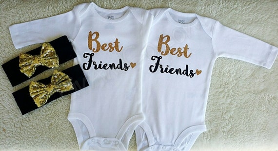 Best Friend Shirts Twin Girl Outfits Best Friend Baby