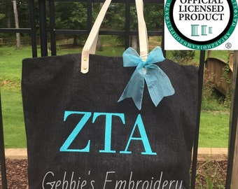Zeta Tau Alpha Licensed Sorority Mud Pie Totes with Embroidery and Matching Bow, Sorority Bag with Greek Letters, Sorority Carryall