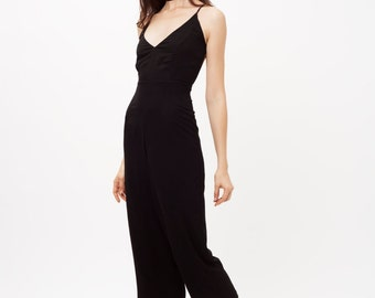Black Jumpsuit with Thin Straps, Silk Cotton Black Jumpsuit Spaghetti Straps, Black Summer Jumpsuit