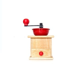 Vintage Red Metal and Wood Coffee Grinder, Coffee Mill, Vintage Kitchen Decor