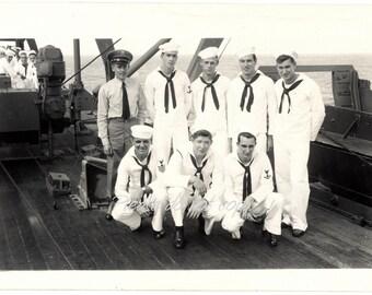 WWII US Sailor Boys ~ Vintage Snapshot Photo