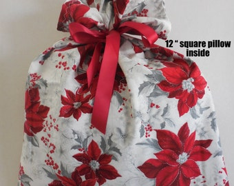 "Poinsettia Gift Bag wrap, 15"" x 20"", red flower and gray holly one white, Reduce Reuse Recycle, cloth gift wrap bags Christmas, fabric gift"