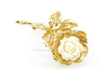 Vintage Carved Rose Brooch, Cream Lucite, Detailed, Gold Tone