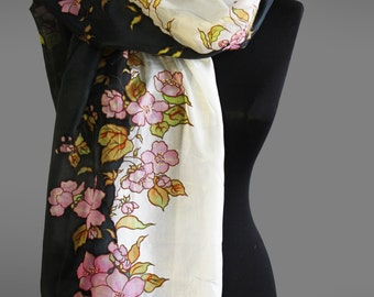 Hand painted silk scarf with apple tree blossom. Black and white silk scarf. Designer scarf. Ready to ship.