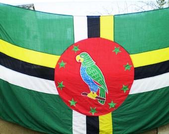 Huge Vintage Panel Stitched National Flag Of Dominica - 12 ft x 6 ft