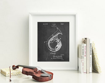 Sousaphone Patent Poster, Music Room Decor, Tuba, Marching Band, Band Director, Gifts for Musicians, PP1049