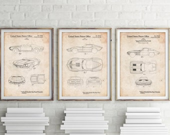 Car Art Patent Posters Group of 3, Corvette Art, Car Poster, Car Enthusiast, Boy Room Decor, Office Decor, PP1151