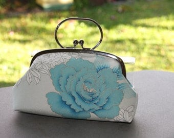 Blue rose /Vintage Kimono bag/ Clutch with ring /Pouch/ hand made