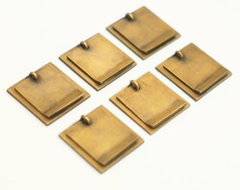 """1.45"""" inches Lot vintage Retro Square Plain Plate Solid Brass Cabinet Door handle KNOB Drawer Pulls G40"""