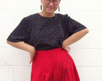 Large multi-color polka dot shirt