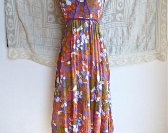 Purple Floral Indian Gauze Maxi Dress