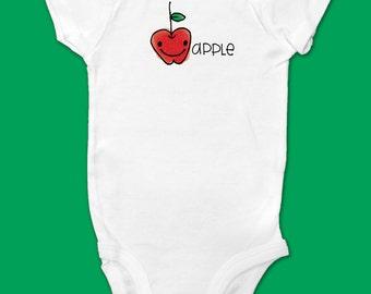 Baby Onesie/Bodysuit - SHORT SLEEVE - SIZE Newborn - Cute Drawn Apple with Lettering