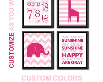 pink girl birth announcement wall art, baby girl decor elephant giraffe, girls birth stats, new baby girl nursery decor, birth date print