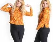 SALE Vintage Women 60s cool Print Orange PAISLEY Bohemian Hippie Blouse Top Festival Coachella