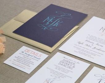 Wedding Invitation Set, Fancy Monogram, Flourish Monogram, Wedding Monogram,  Monogram Invitations,