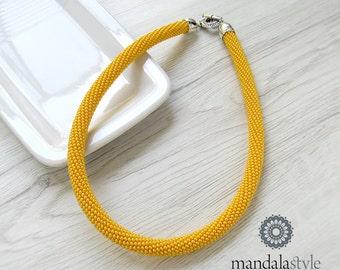 Tubular yellow seedbeads necklace/choker