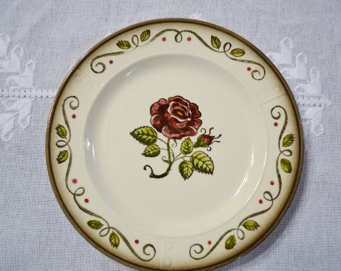 Vintage Metlox Poppytrail Provincial Rose Salad Dessert Plate California Pottery  Panchosporch