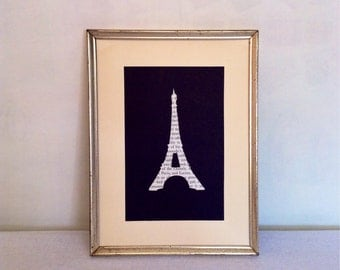 SALE - Designer Chanel - Paris - Eiffel Tower Vintage Fashion - Vintage Book -Text Silhouette - Handcrafted - Framed Gift
