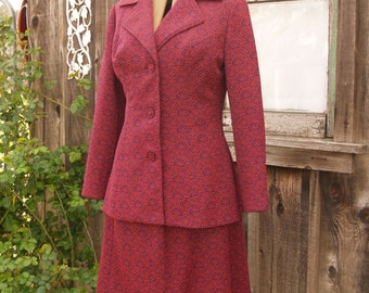 Vintage 1960's Tailored Suit//Tapestry Knit Polyester//Princeton//Red and Navy//Brocade