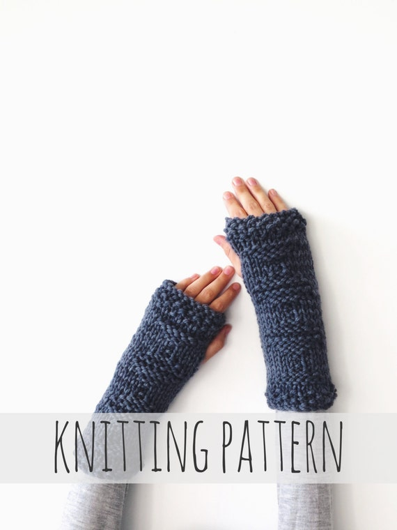 Knitting Pattern Gauntlet Gloves : PATTERN for Knit Fingerless Gloves Arm Warmers Gauntlets