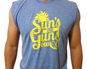 Funny Men's Muscle-T. Suns out, guns out shirt!  Summer shirt.