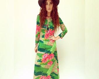 Hamptons Dress // vintage green pink boho bohemian 60s 70s party madmen sun neon floral caftan hippie hippy kaftan maxi // S Small