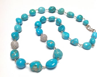 Armenian Turquoise Nuggets Sterling Silver Crystal
