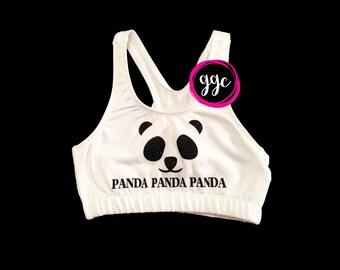 """Ready to Ship - YL (12/14) - Glitter """"Panda Panda Panda"""" Sports Bra"""