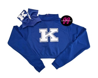 Ready to Ship - Adult Medium - Kentucky (UK) Long Sleeve Crop and Bow Set