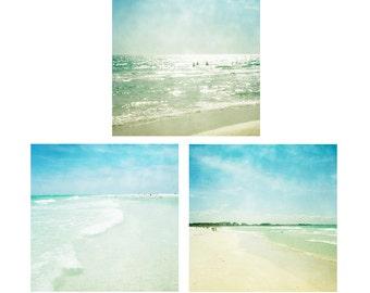 Beach Prints, Beach Wall Art, Set Of 3 Prints, Fine Art Photography, Beach Art Set, Florida art, Siesta Key Art Beach Photos 8x8 10x10 12x12