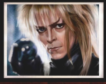 David Bowie poster A4 David Bowie Labyrinth, David Bowie art print, David Bowie art, Bowie wall art, Labyrinth wall art, original artwork