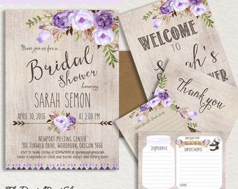 Printable Bridal shower INVITATION Rustic Garden shower invite lilac purple welcome sign thank you wood peonies boho chic DIY Digital jpg171