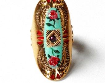 Large Bohemian Ring Hand Painted Rose Boho Romantic Tribal Jewelry