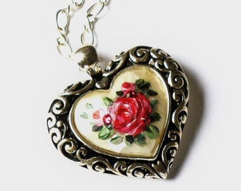 Brighton Style Heart Necklace Hand Painted Roses Romantic Jewelry