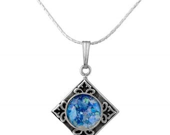 Diamond Shape Sterling Silver Roman Glass Square Pendant