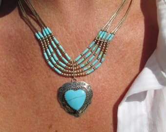 Native American Turquoise and Sterling Heart Pendant and Liquid Silver Necklace
